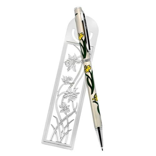 Daffodil Bookmark Pen Set Silver Plated Spring Flowers Mothers Day Easter Gift